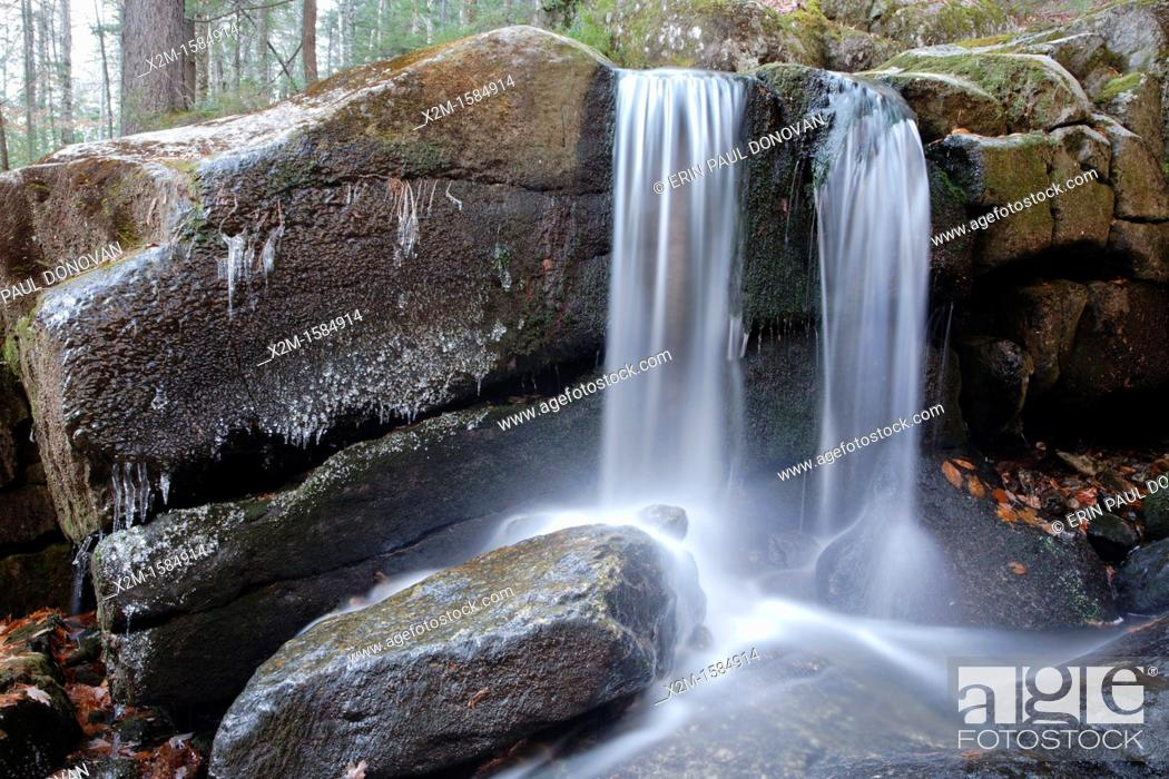 Stock Photo: Evans Falls along Townline Brook in the White Mountains, New Hampshire USA  These are a series of three waterfalls referred to as Triple Falls.