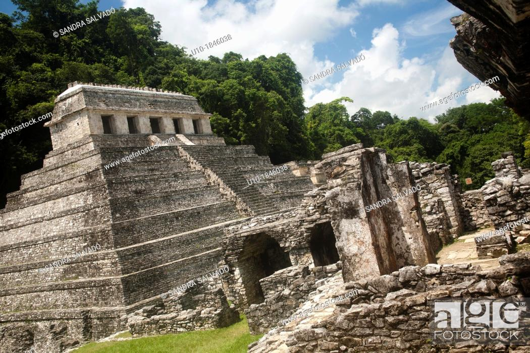 Stock Photo: Temple of the Inscriptions, Temple XIII, Palenque Archaeological Site, Chiapas, Mexico.