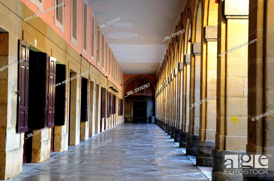 Stock Photo: arcades in the square of the constitution, san sebastian, Basque Country, guipuzcoa, Spain.