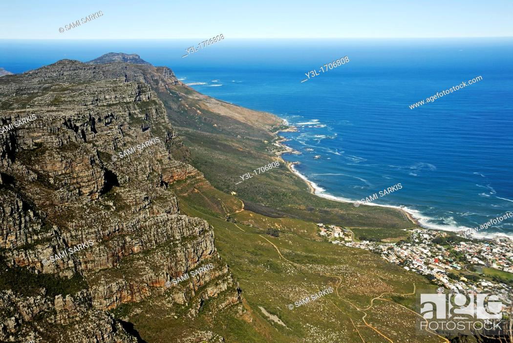 Stock Photo: Sea Point from Table Mountain, Cape Town, Western Cape Province, South Africa.