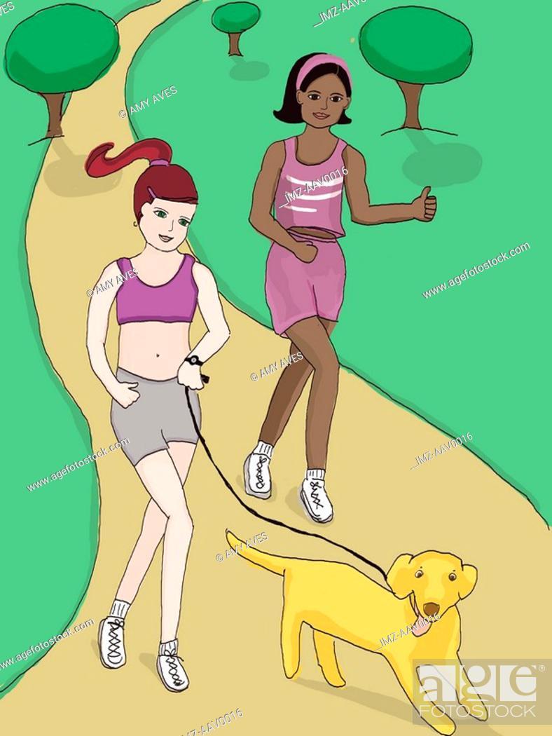 Stock Photo: two women jogging.