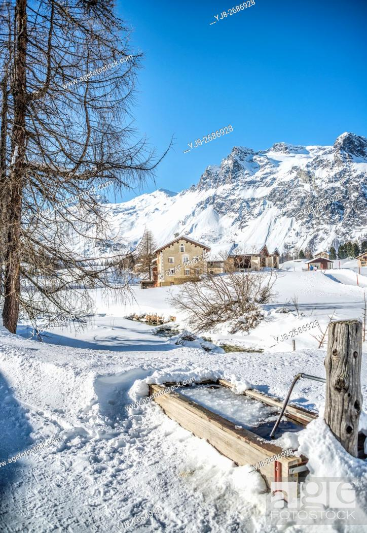 Stock Photo: Winter Landscape in Val Fex in the Engadine, Grisons, Switzerland.