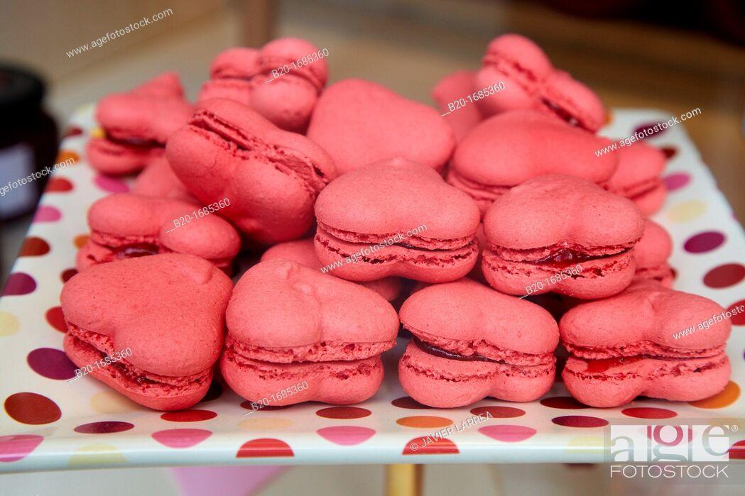 Stock Photo: Macarrons, Heart cookies, Pastry shop window, Bilbao, Bizkaia, Basque Country, Spain.