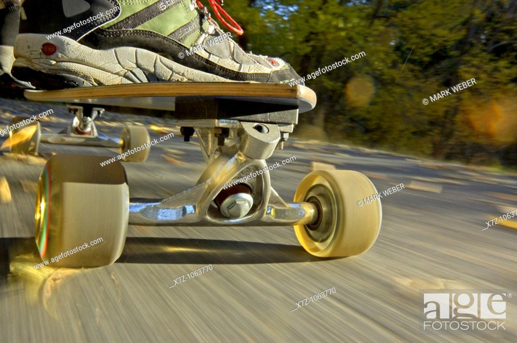 Stock Photo: Skateboarding on the Rock Creek Parkway in the Rock Creek Canyon near the city of Twin Falls in southern Idaho USA.
