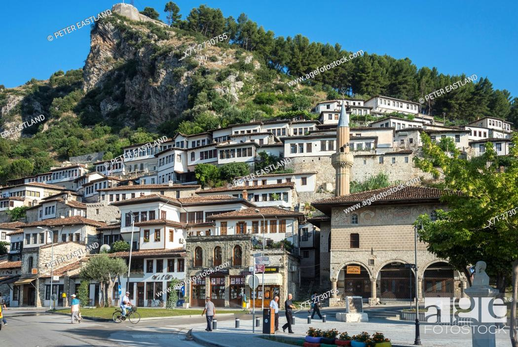 Stock Photo: The Bachelors mosque and Mangalemi district with its Ottoman period, houses in the old town of Berat in central Albania.