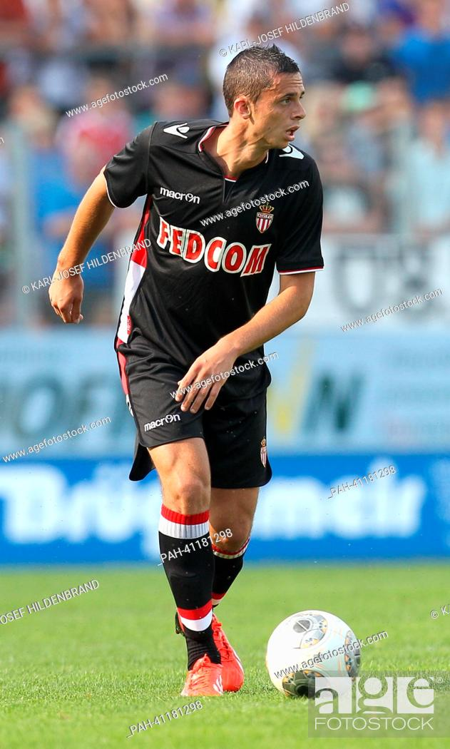 Stock Photo: Monaco's player Jessy Pi in action during the soccer test match between FC Augsburg and AS Monaco in Memmingen, Germany, 20 July 2013.