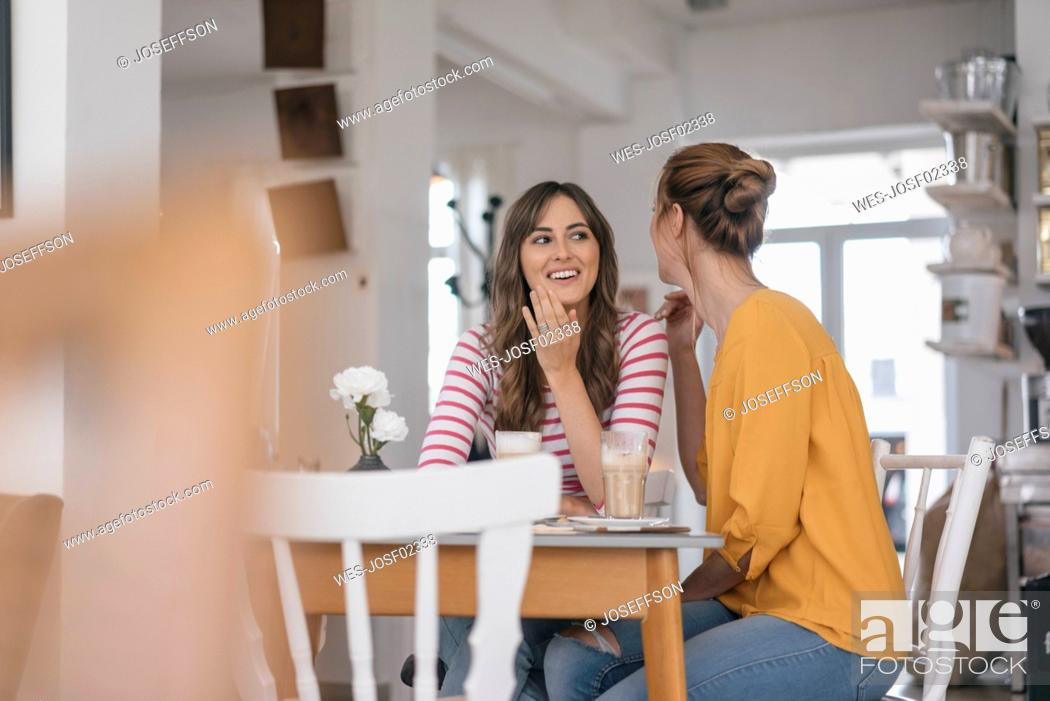 Stock Photo: Two girlfriends meeting in a coffee shop, talking.