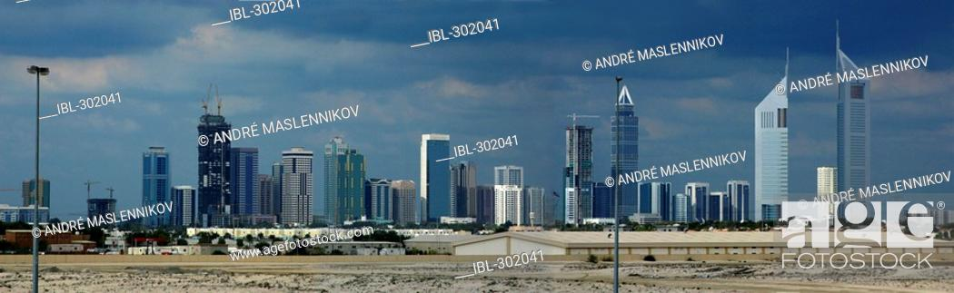 Stock Photo: Skyline of Trade Centre of Dubai.
