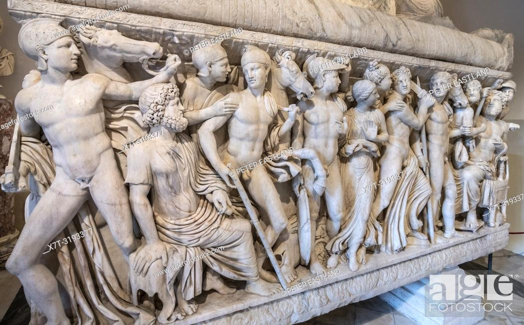 Stock Photo: Detail of reliefs on a Roman period, marble sarcophagus depicting the life of Achillies, first half of the 3rd century AD. Capitoline Museums.