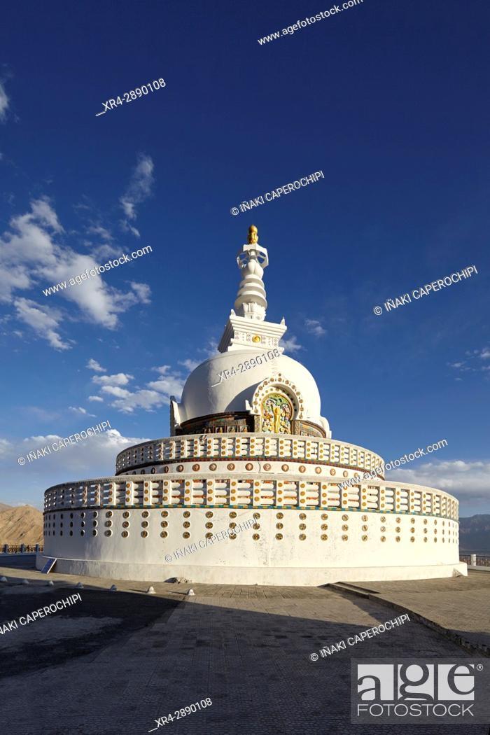Stock Photo: Shanti Stupa, Leh, Ladakh, India.