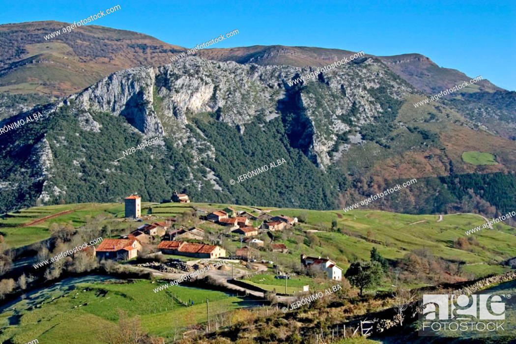 Stock Photo: Obeso village in Rionansa region. Saja-Nansa. Cantabria. Spain.