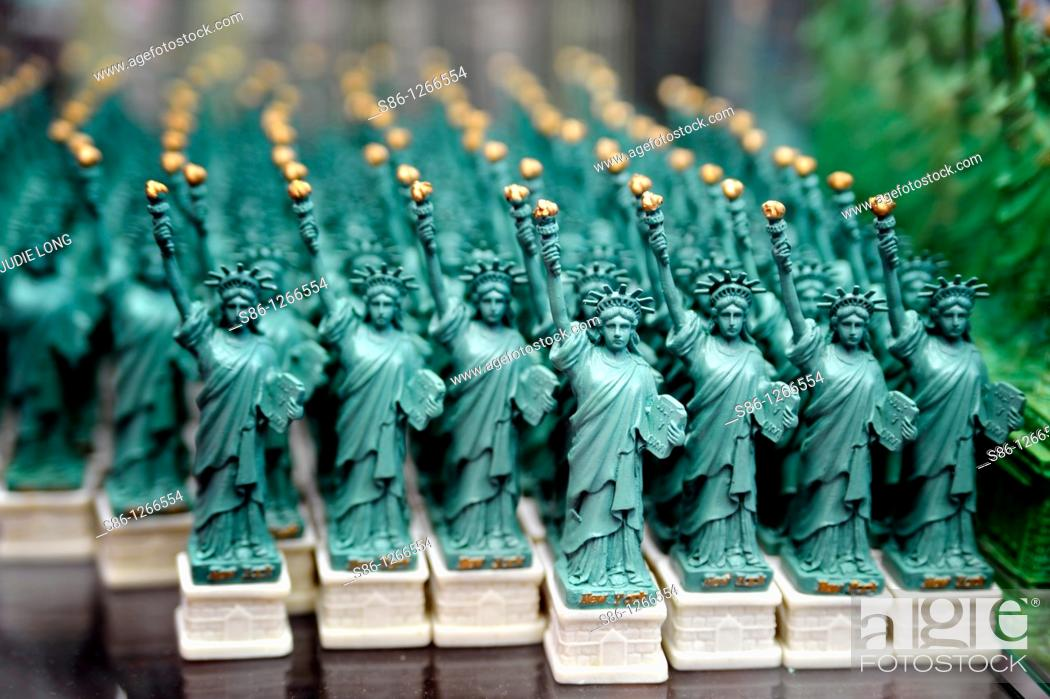 Stock Photo: Statues of Liberty displayed in a retail New York City Souvenir Shop.