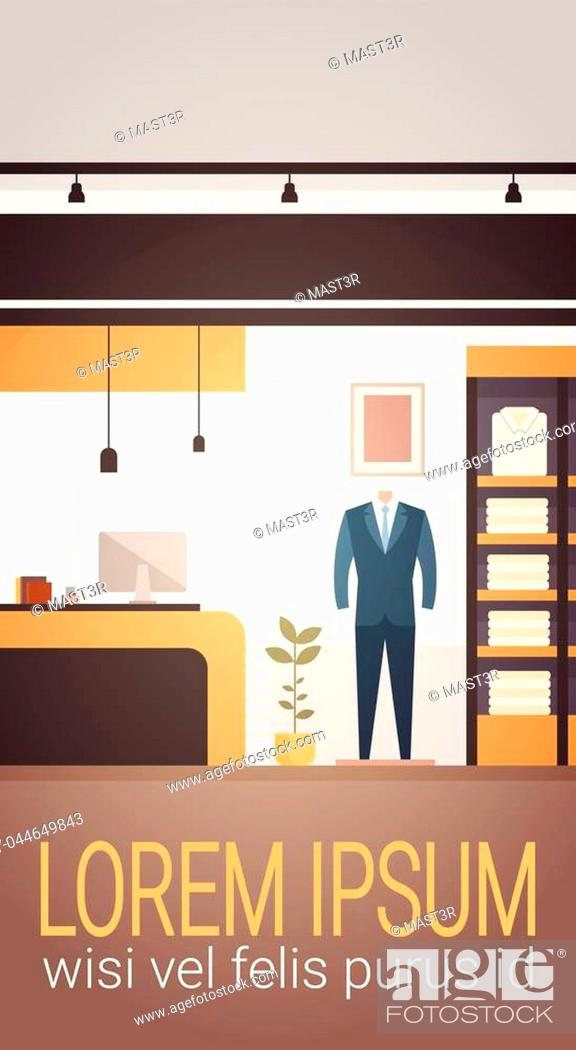 Stock Vector: Big Fashion Shop Super Market Male Clothes Shopping Mall Interior Banner With Copy Space Flat Vector Illustration.