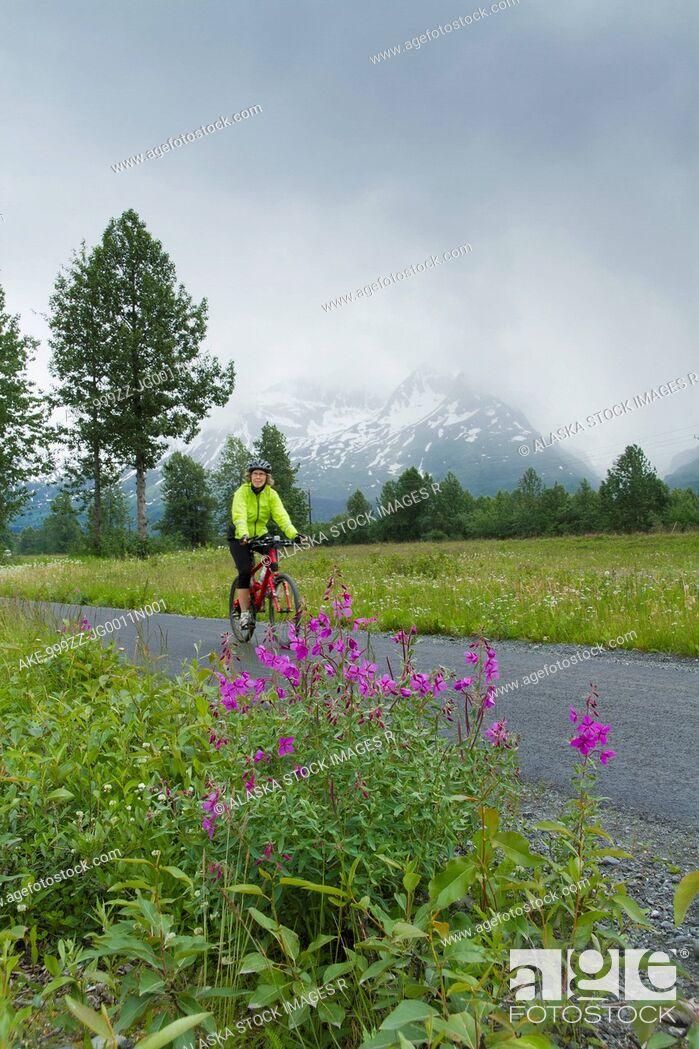 Stock Photo: Woman riding a mountain bike on a path along the Richardson Highway near Valdez on an overcast day, Southcentral Alaska, Summer.