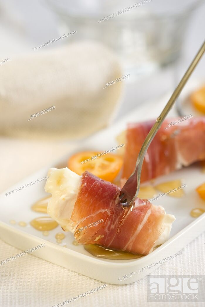 Stock Photo: Pincho de cecina, queso de cabra y foie.