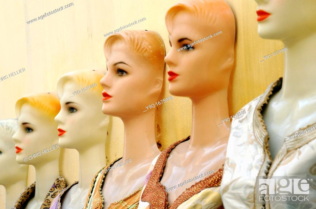 Stock Photo: Row of Dressmakers Dummies or Mannequins in the Market or Medina Fez Morocco.