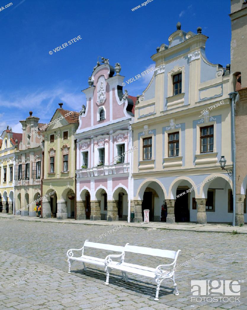 Stock Photo: Architecture, Bohemian, Czech republic, Europe, Heritage, Holiday, Hradec, Landmark, Moravia, South, Square, Telc, Tourism, Trav.