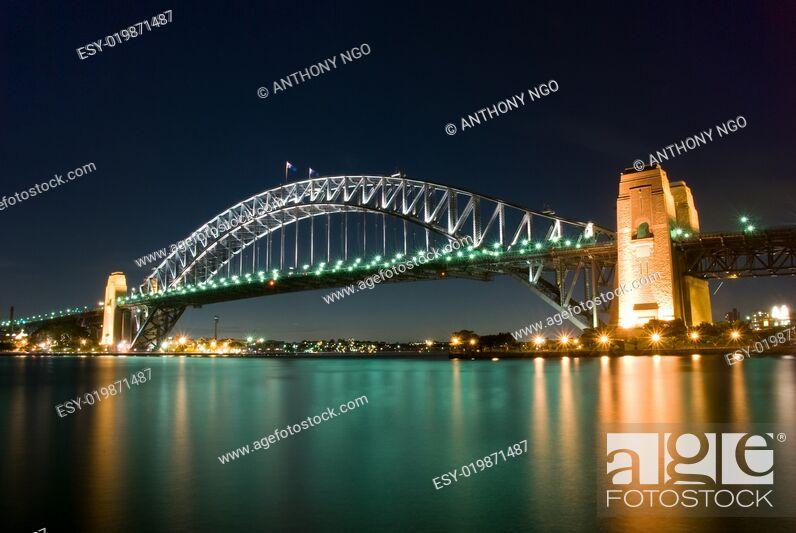 Stock Photo: Sydney Harbour Bridge By Night.