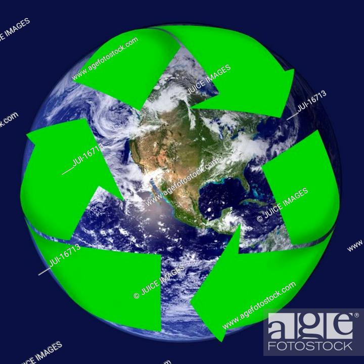 Stock Photo: Earth and recycling symbol.