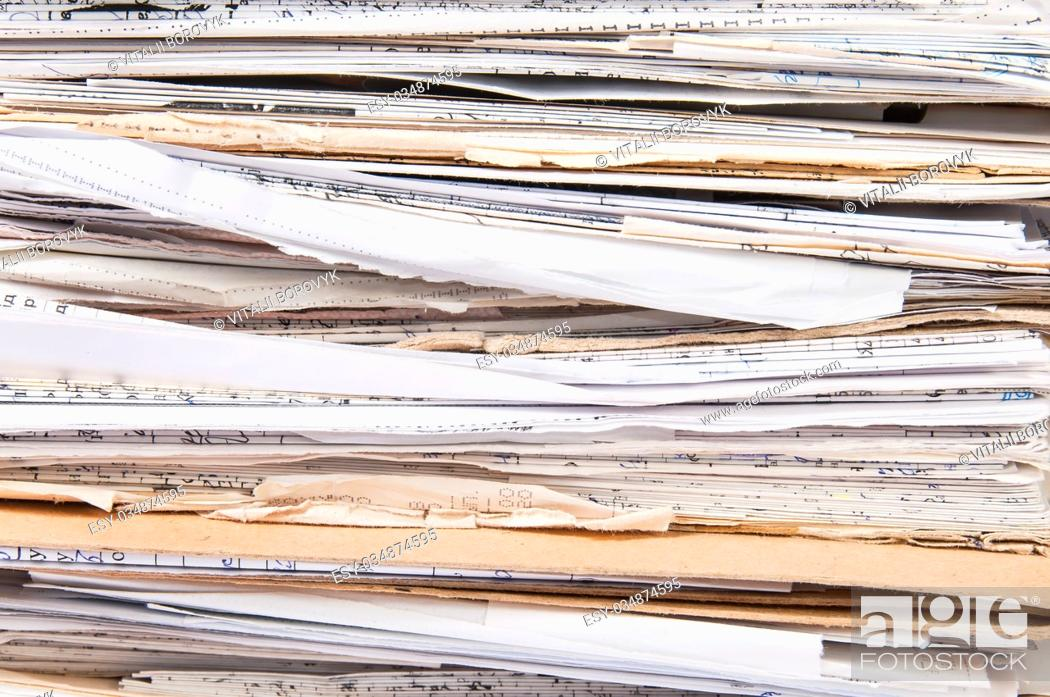 Stock Photo: Background Close Up Chaotic Old File Stack.