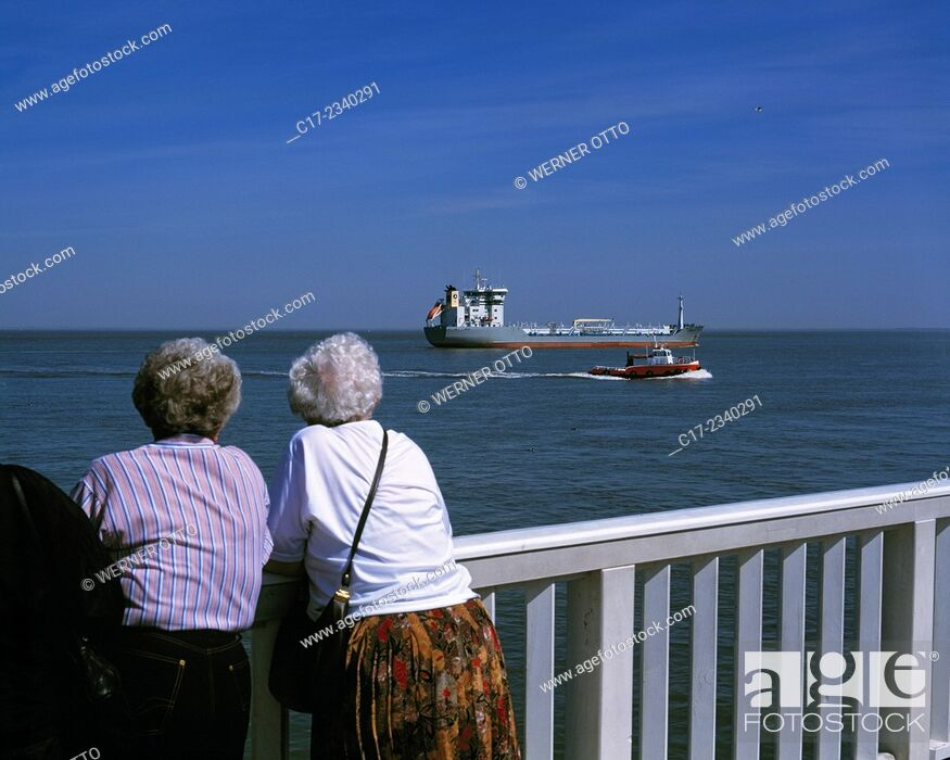 "Stock Photo: Germany. Cuxhaven, Elbe, North Sea, Lower Saxony, harbour, """"Alte Liebe"""", harbour bulwark, landing pier, observation platform, tourism, touristic attraction."
