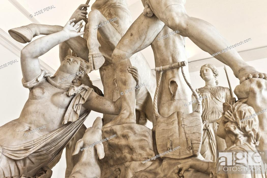 Stock Photo: Farnese Bull, Toro Farnese, marble statue, Hellenistic sculpture, National Archaeological Museum of Naples, MANN, Naples city, Campania, Italy, Europe.