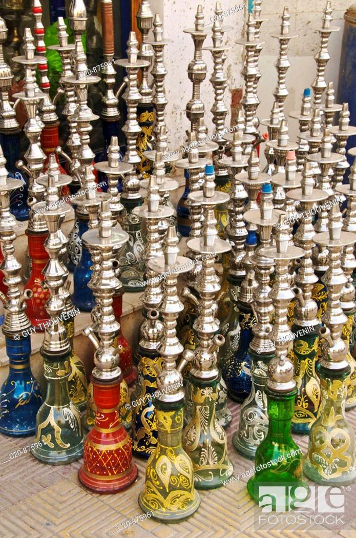 Traditional hookah shop, Egypt, Stock Photo, Picture And