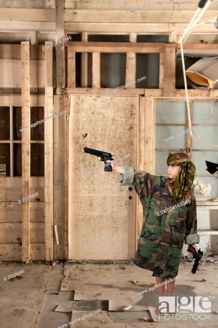 Stock Photo: Little Girl Soldier.