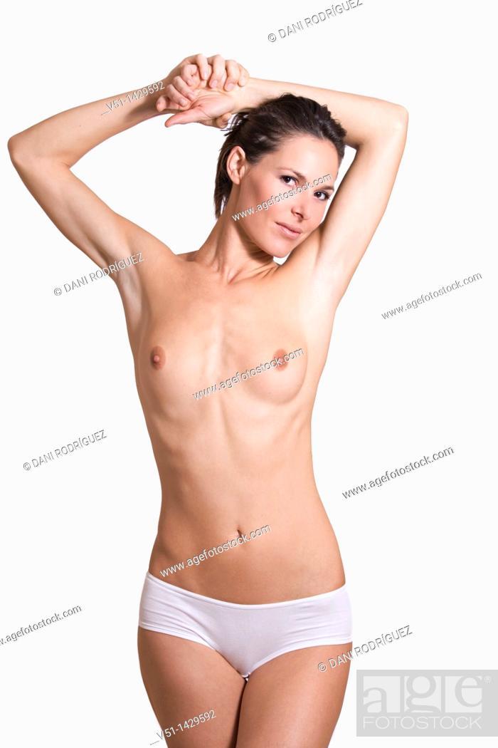 Stock Photo: Portrait of a semi-dress woman in studio.