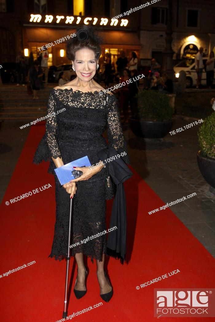 Stock Photo: Marisela Federici arrives at the Premiere of theatrical performance ' Waiting for the Sibyl ' at Opera Theatre of Rome, ITALY-10-09-2019.
