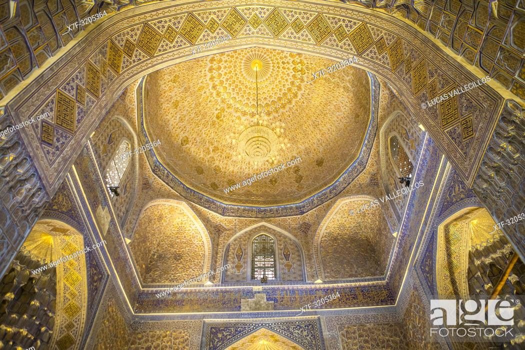 Stock Photo: Ceiling of Gur-e-Amir mausoleum, Samarkand, Uzbekistan.