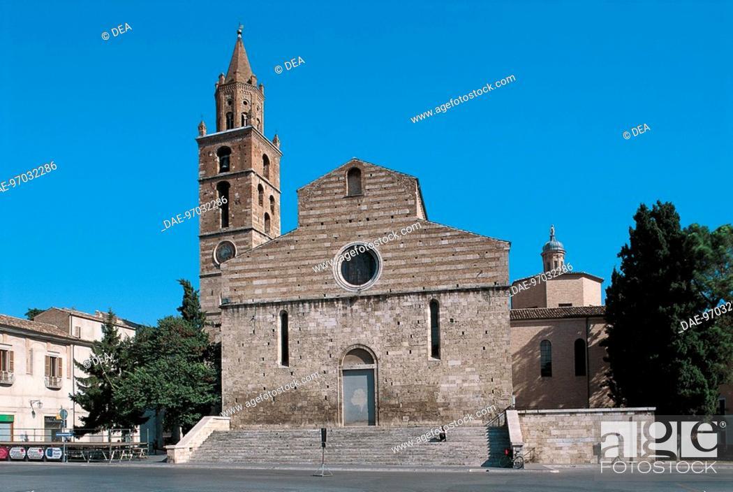 Stock Photo: Italy - Abruzzo Region - Teramo - Cathedral of Saint Berardo - rear.