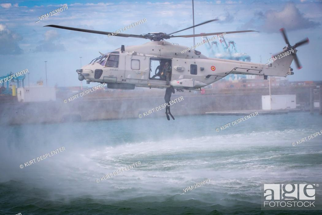 Stock Photo: Illustration shows Helicopter NH90 pictured at the military diving school at the Zeebrugge naval base, Friday 04 September 2020.