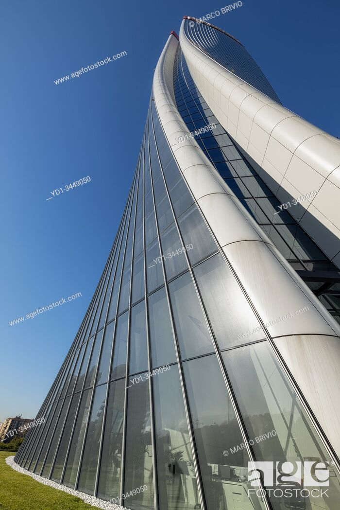 Stock Photo: Milan Italy. Citylife Shopping District. Torre Hadid (Hadid Tower).