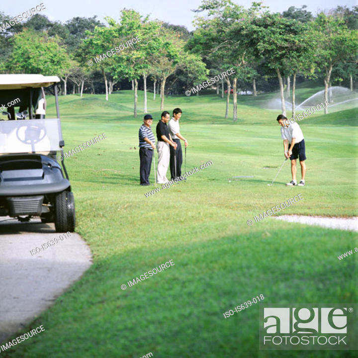 Stock Photo: Four men playing golf.