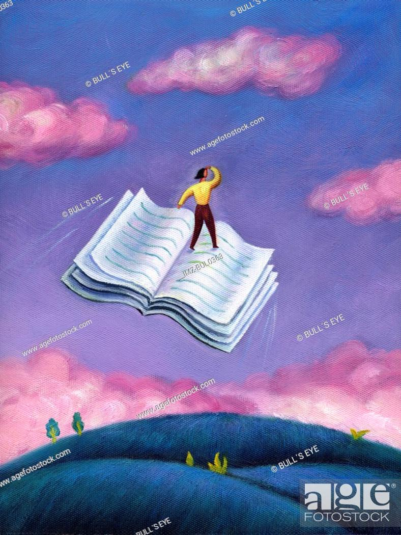 Stock Photo: A woman standing on a flying book.