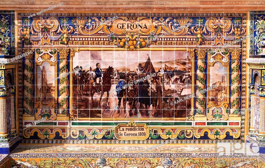Stock Photo: Tile mosaic of a Spanish province, Plaza de España, Seville, Spain, Europe.