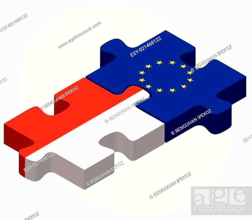 Stock Vector: Indonesia and European Union Flags in puzzle.