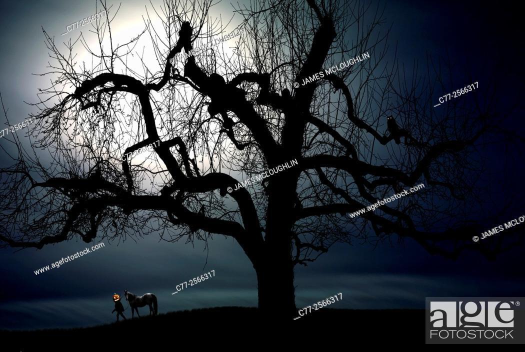 Stock Photo: Halloween, Headless Horseman, moon.