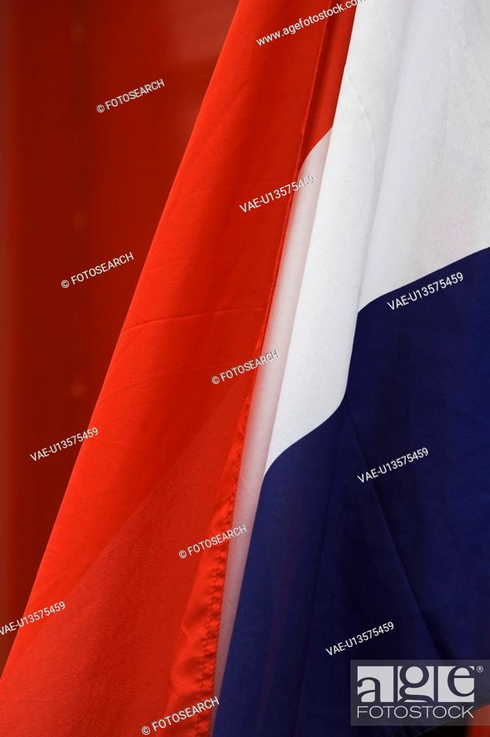 Stock Photo: Blue, Close-Up, Day, Dutch Flag, Fabric.