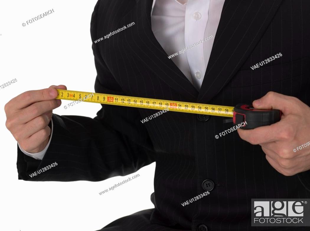 Stock Photo: mesuring, businessman, hand, body part, business suit, business.
