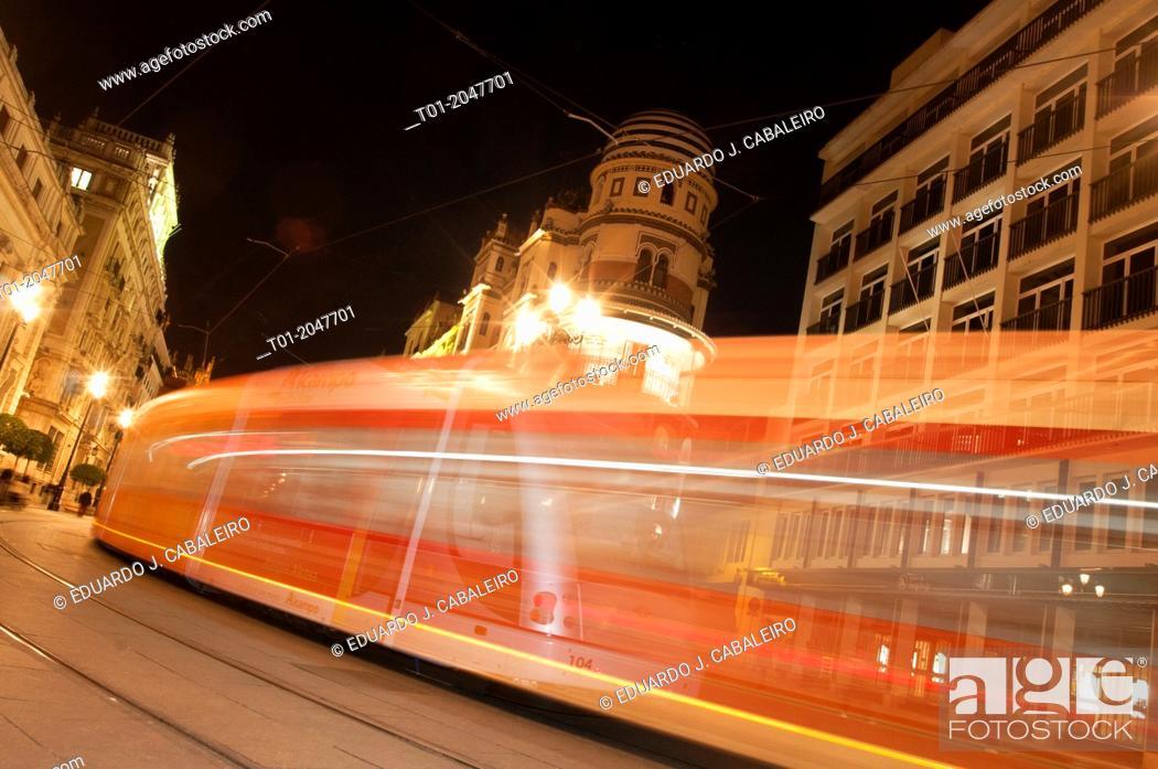 Stock Photo: moving tram trail. Seville.