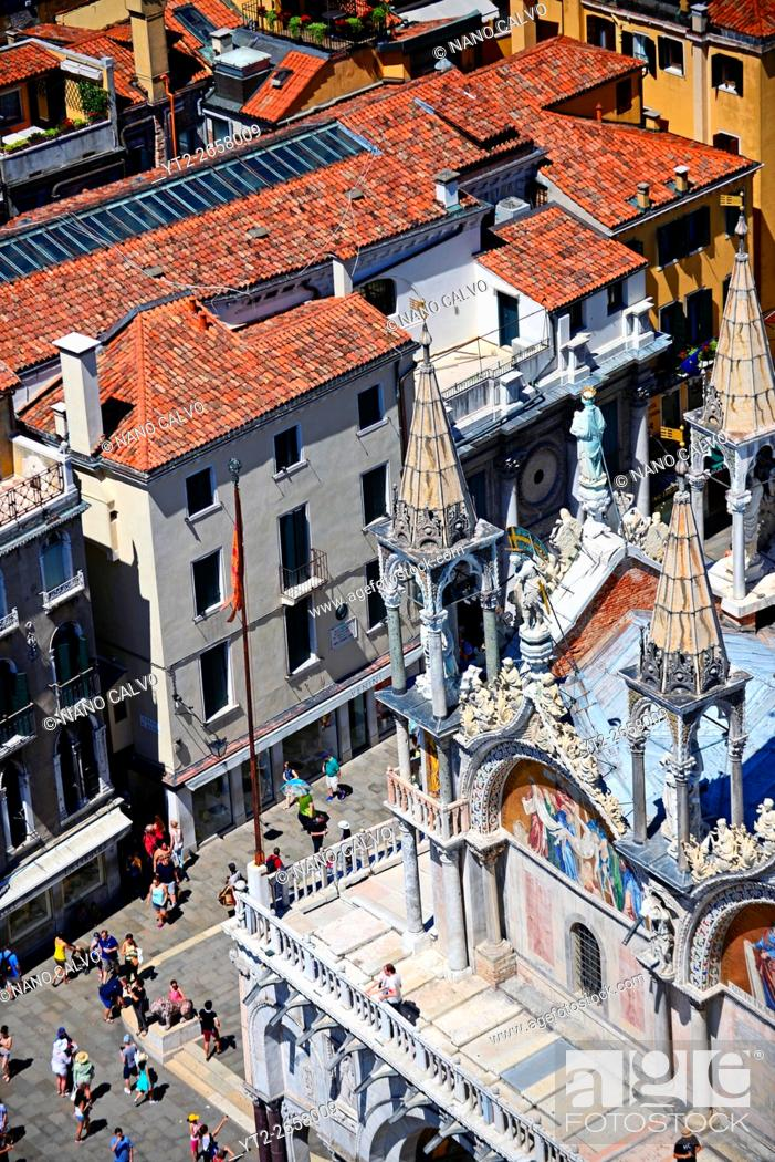 Stock Photo: View of Piazza San Marco and the Basilica of San Marco (St. Mark's Basilica) from the Campanile di San Marco (St. Mark's bell tower), Venice, Italy.