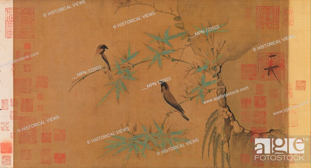 Stock Photo: Finches and bamboo. Artist: Emperor Huizong (Chinese, 1082-1135; r. 1100-25); Period: Northern Song dynasty (960-1127); Date: early 12th century; Culture:.