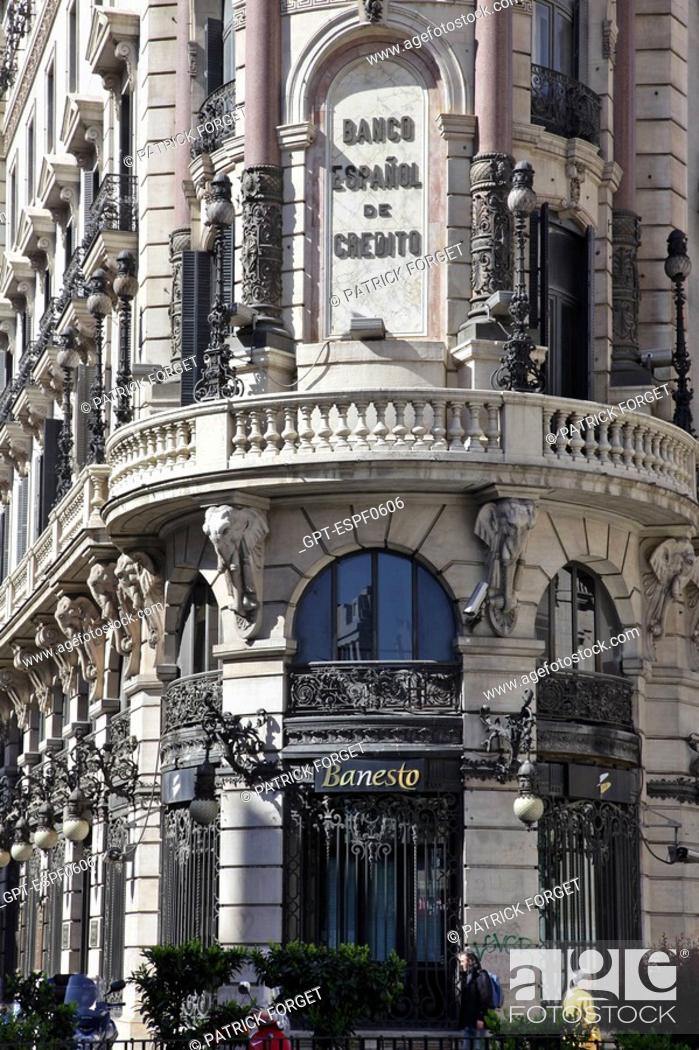 Facade Of The Equitative Offices Headquarters Of The Spanish Bank