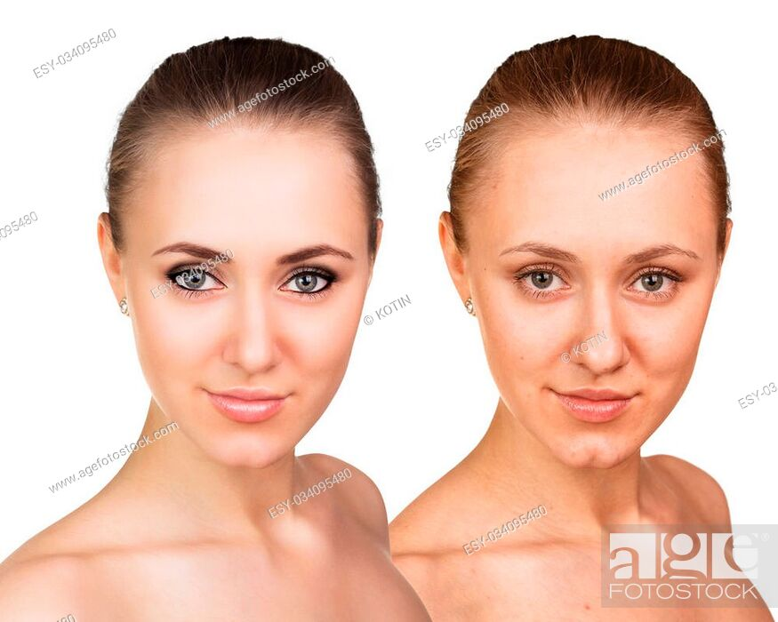 Imagen: Comparative portrait of female face, without and with makeup.