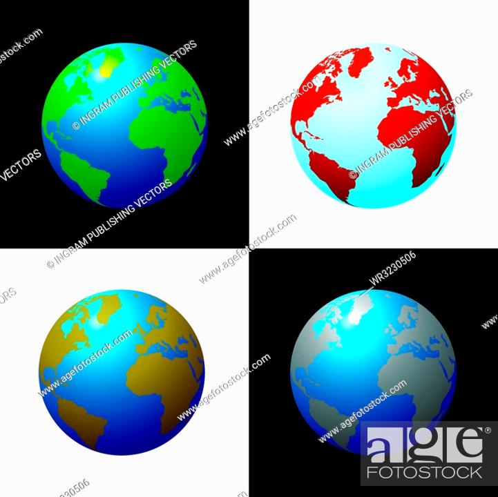 Stock Vector: Collection of four globes in varius colour configariations.