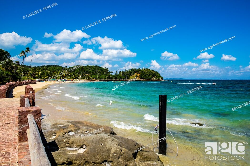 Stock Photo: Tropical paradise on the island of Frades in the Bay of All Saints in Salvador Bahia Brazil.