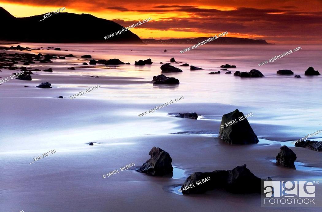 Stock Photo: Beach at sunset, Berria beach, Santoña, Cantabria, Spain.