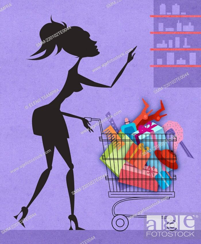 Stock Photo: Woman with a shopping cart.